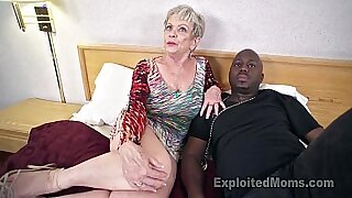 Mature grandma sucks huge black man cock - Brazzers porno