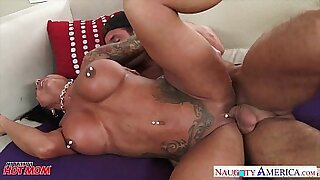 Tattooed brunette Fucking Her WHORE By Mother - Brazzers porno