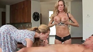 Taylor Whyte and Brandi Love sharing dick on massage table - Brazzers porno