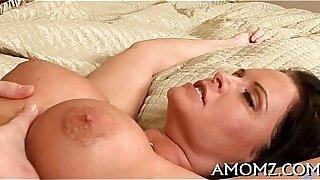 Hot mature lady fucks her cock with a vibrator - Brazzers porno