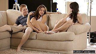 crazy teens sex threesome casting - Brazzers porno